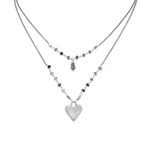 Baila Luna Joyful Heart Necklace Sterling Silver - deelytes-com