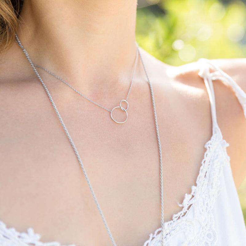 Circle Link Necklace Sterling Silver - deelytes-com