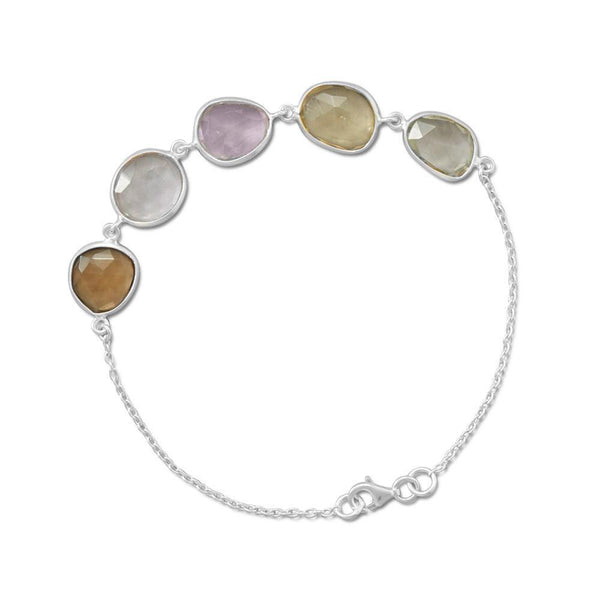 Multi-Color Quartz, Amethyst and Prasiolite Faceted Sterling Silver Bracelet - deelytes-com