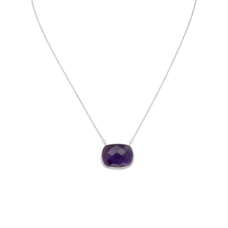 Faceted Oval Amethyst Sterling Silver Necklace - deelytes-com