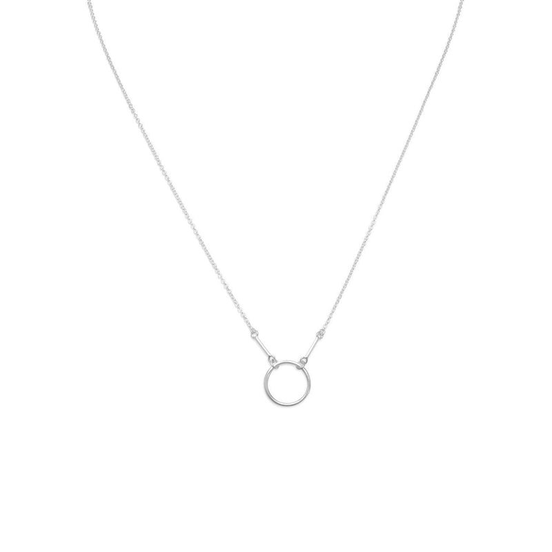 Polished Sterling Silver Circle and Bar Drop Necklace - deelytes-com
