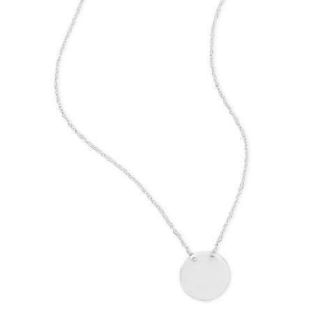 Polished Round Disk Necklace - Engravable Sterling Silver - deelytes-com