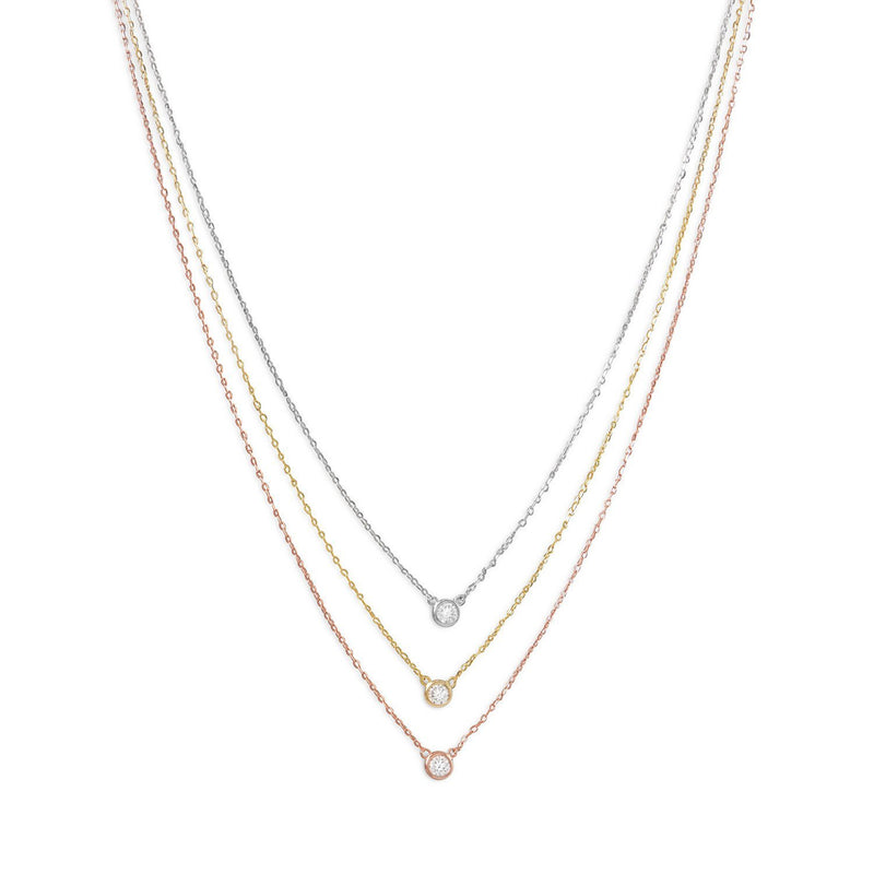 Sterling Silver Gold Plated Graduated Tri Tone Necklace with CZs - deelytes-com