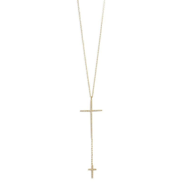 Double CZ Cross Drop Sterling Silver Necklace - deelytes-com
