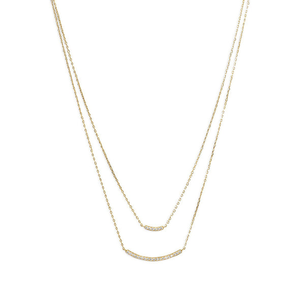 Gold Double Strand Curved CZ Bar Necklace - deelytes-com
