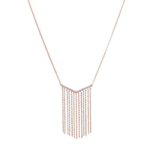 "14 Karat Rose Gold ""V"" Tassel Drop Necklace - deelytes-com"