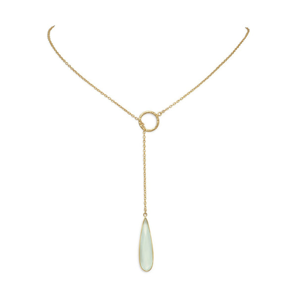 Gold Lariat Necklace with Chalcedony Drop - deelytes-com