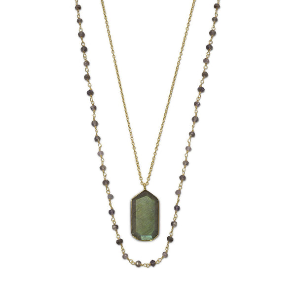 Gold Double Strand Iolite and Labradorite Necklace - deelytes-com