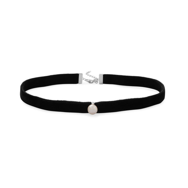 Black Velvet Choker Necklace with Cultured Freshwater Pearl Sterling Silver - deelytes-com