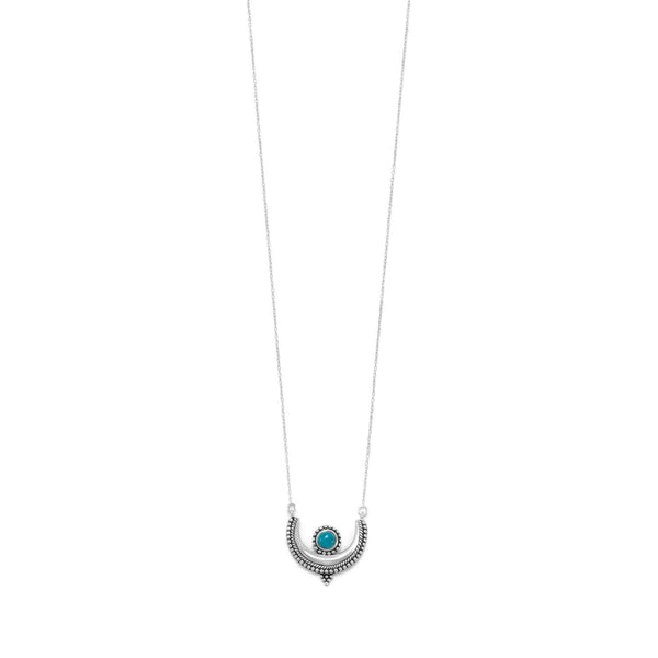 Sterling Silver Turquoise Crescent Necklace - deelytes-com