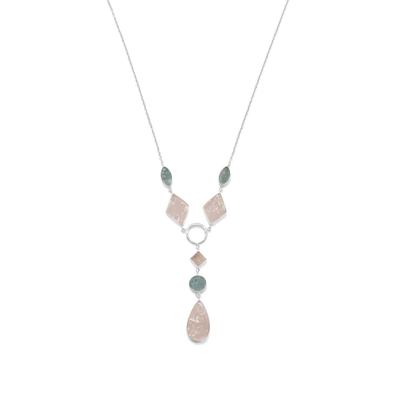 Aquamarine and Rose Quartz Drop Sterling Silver Necklace - deelytes-com