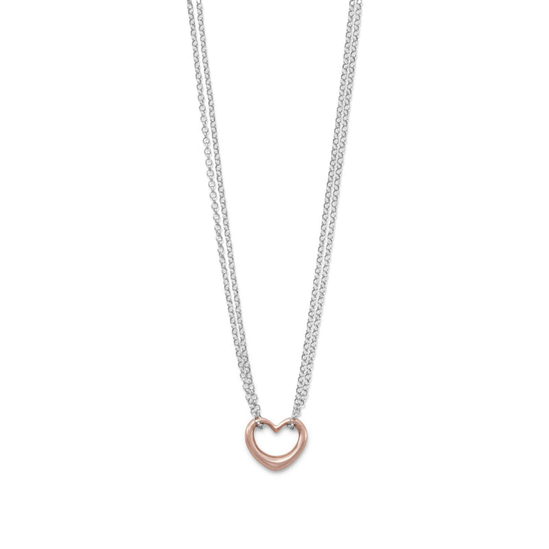 Rose Gold & Sterling Silver Double Strand Open Heart Necklace - deelytes-com