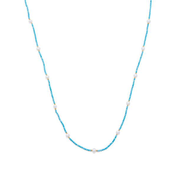 Endless Design Turquoise Magnesite and Cultured Freshwater Pearl Necklace - deelytes-com