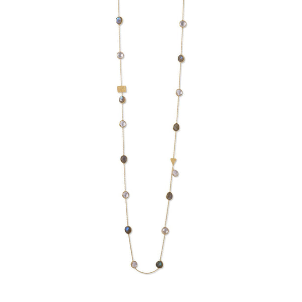 Gold Labradorite and Clear Quartz Endless Necklace - deelytes-com