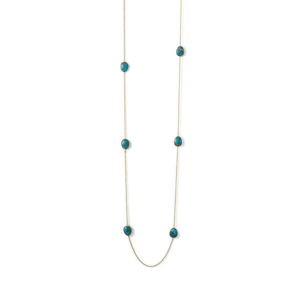 Gold & Turquoise Gemstone Endless Necklace - deelytes-com