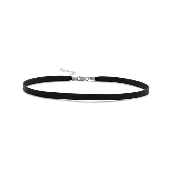 Black Leather Choker Sterling Silver - deelytes-com