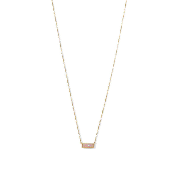 Gold Mini Pink Opal Bar Necklace - deelytes-com