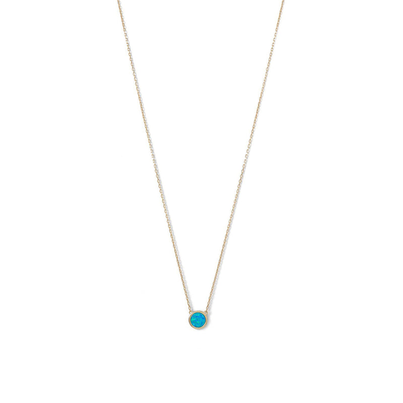 Gold Mini Blue Opal Necklace - deelytes-com