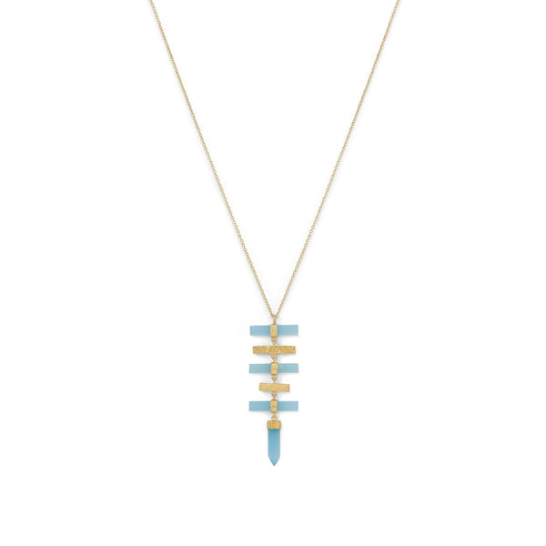 14K Gold Plated Pencil Cut Chalcedony Drop Necklace - deelytes-com