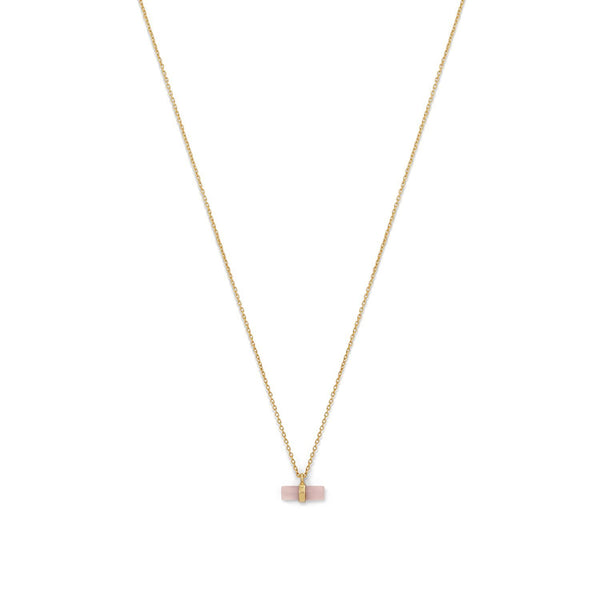 Gold Pencil Cut Rose Quartz Necklace - deelytes-com