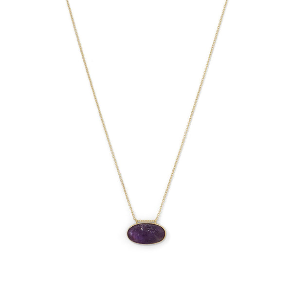 Gold Rough Cut Amethyst Slide Necklace - deelytes-com