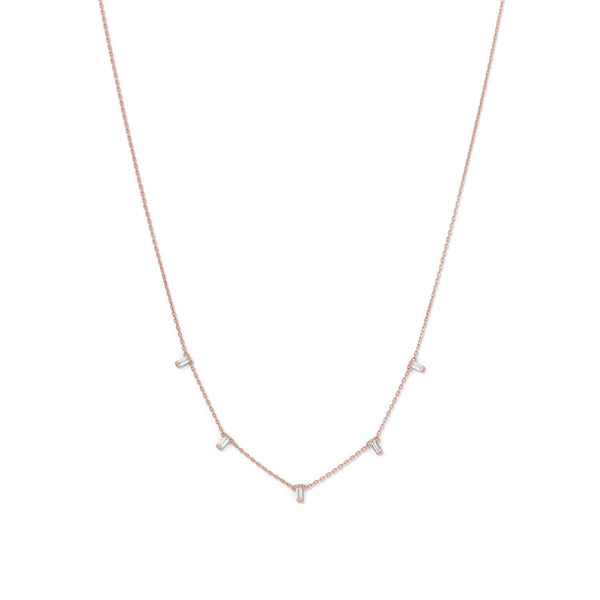 14 Karat Rose Gold Dangling CZ Necklace - deelytes-com