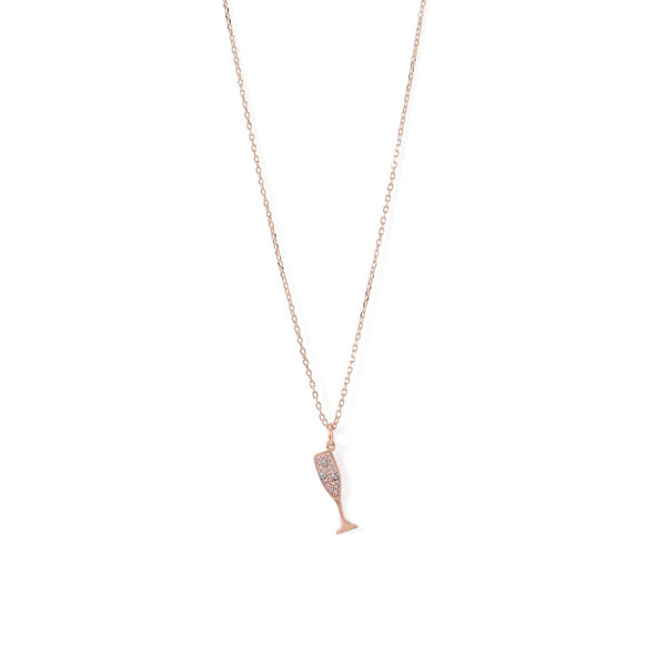 14 Karat Rose Gold CZ Champagne Glass Charm Necklace - deelytes-com