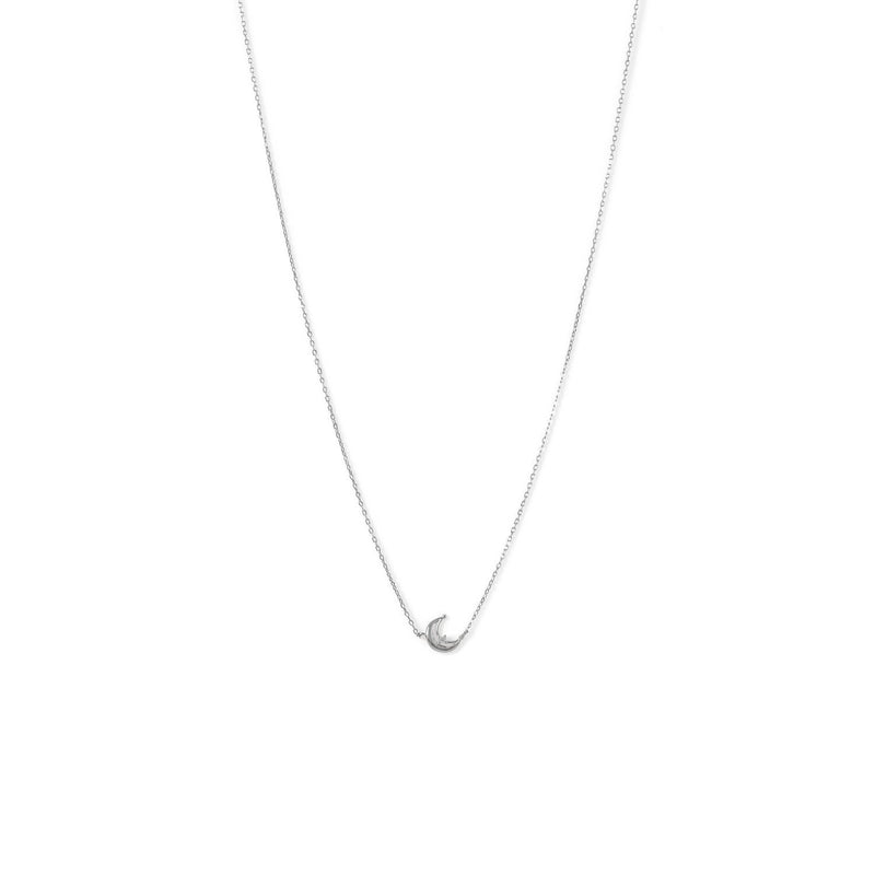 Sterling Silver Crescent Moon CZ Necklace - deelytes-com