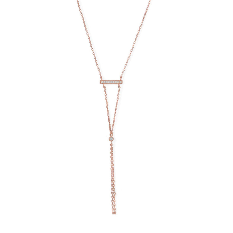 14 Karat Rose Gold Bar Necklace with Y Drop - deelytes-com