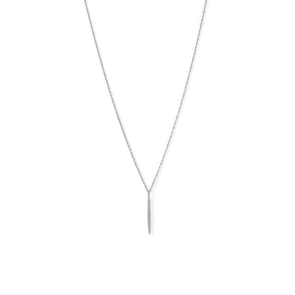 Sterling Silver Vertical Bar with Diamonds Necklace - deelytes-com