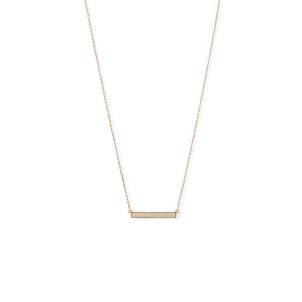 Gold White Opal Bar Necklace - deelytes-com