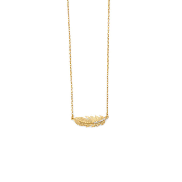 18 Karat Gold Sideways CZ Feather Necklace - deelytes-com