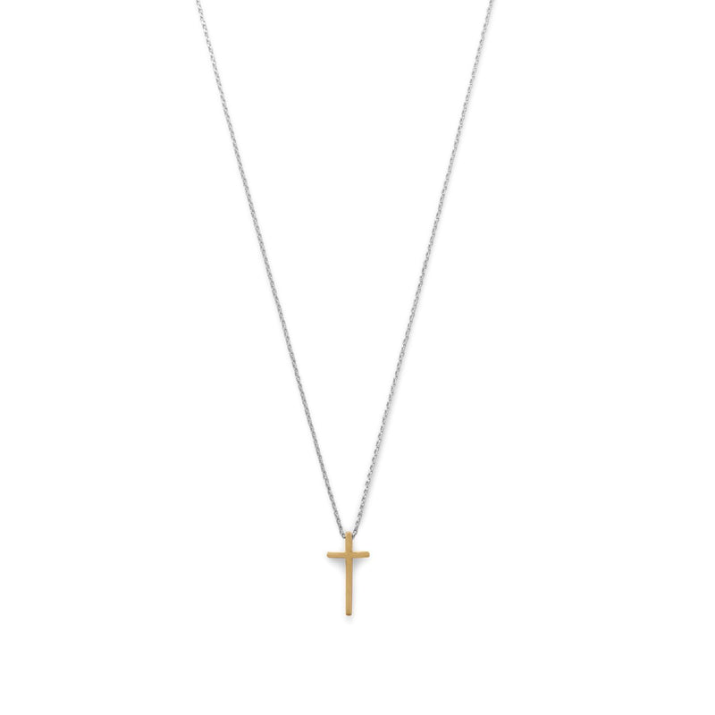 Two Tone Cross Necklace Sterling Silver - deelytes-com
