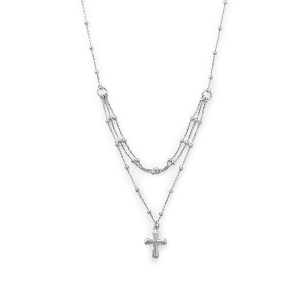 Three Row Sterling Silver Necklace with Cross - deelytes-com