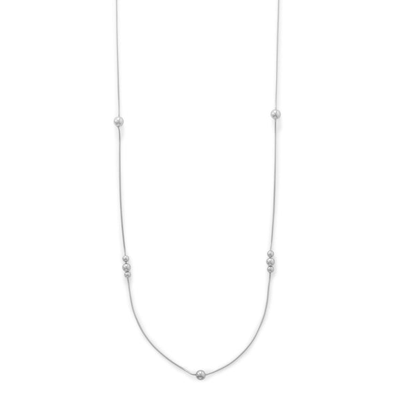 Snake Chain with Beads Sterling Silver Necklace - deelytes-com