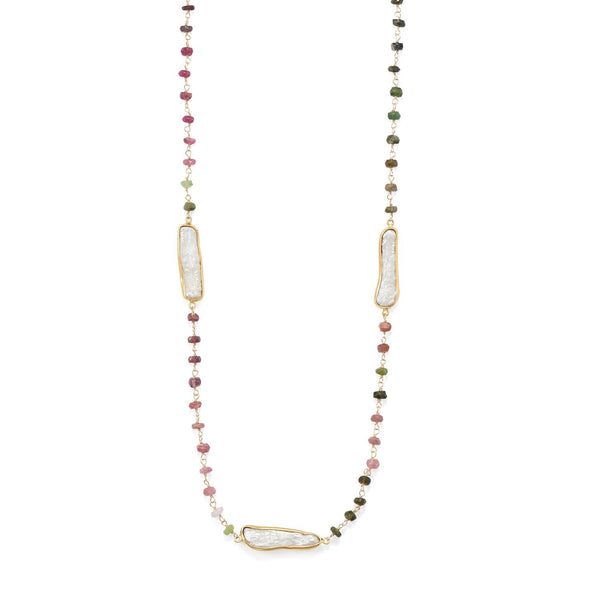 Gold, Tourmaline and Cultured Freshwater Pearl Necklace - deelytes-com