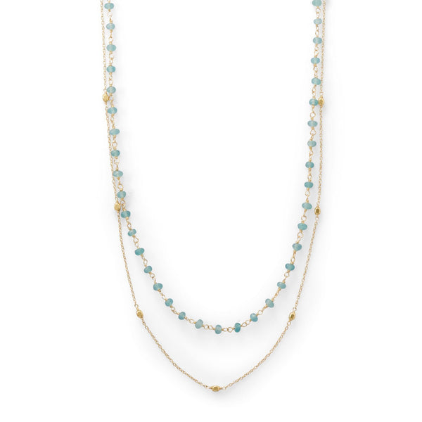 Two Strand Gold Apatite Necklace - deelytes-com