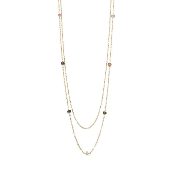 Two Strand Gold Tourmaline Necklace - deelytes-com