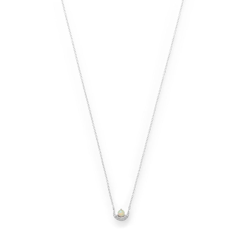 Sterling Silver CZ Crescent and Opal Necklace - deelytes-com