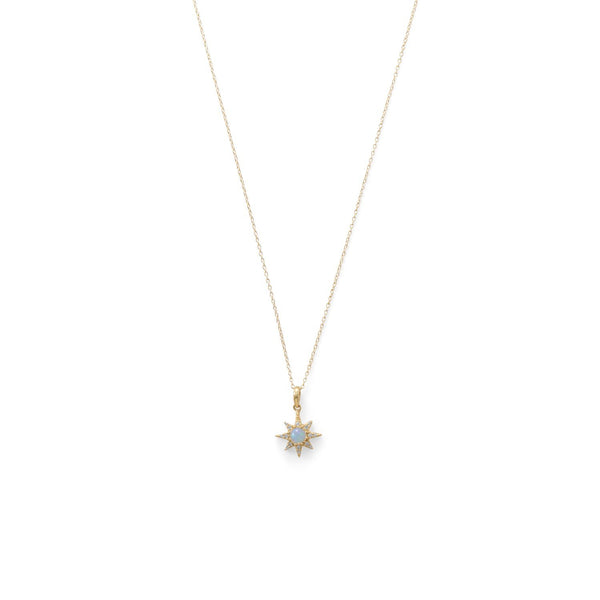Gold CZ Star and Opal Necklace - deelytes-com