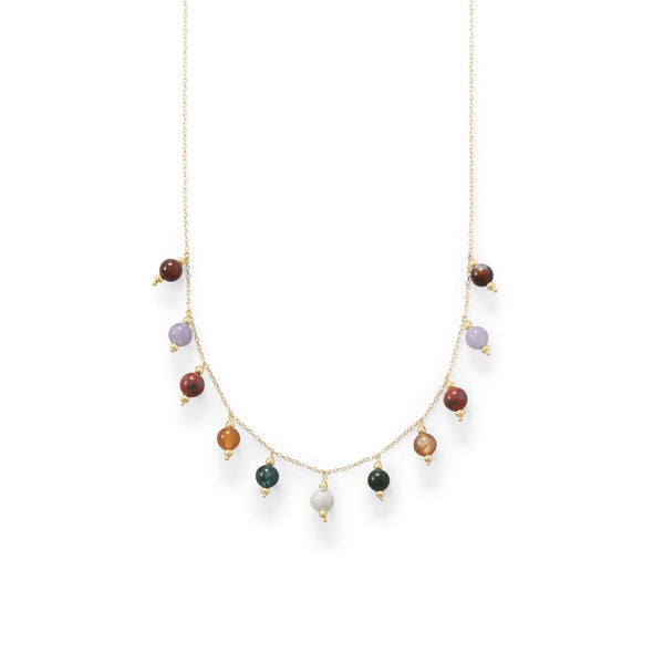 Gold Multi-Gemstone Charm Necklace - deelytes-com