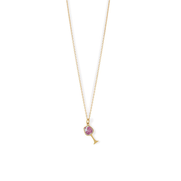 Gold CZ Red Wine Glass Charm Necklace - deelytes-com