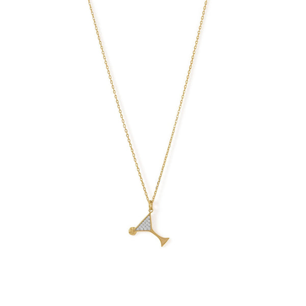 Gold CZ Martini Charm Necklace - deelytes-com