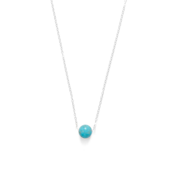 Floating Blue Magnesite Bead Necklace Sterling Silver - deelytes-com