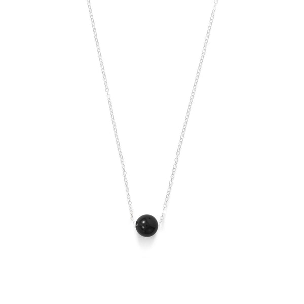 Floating Black Onyx Bead Necklace Sterling Silver - deelytes-com
