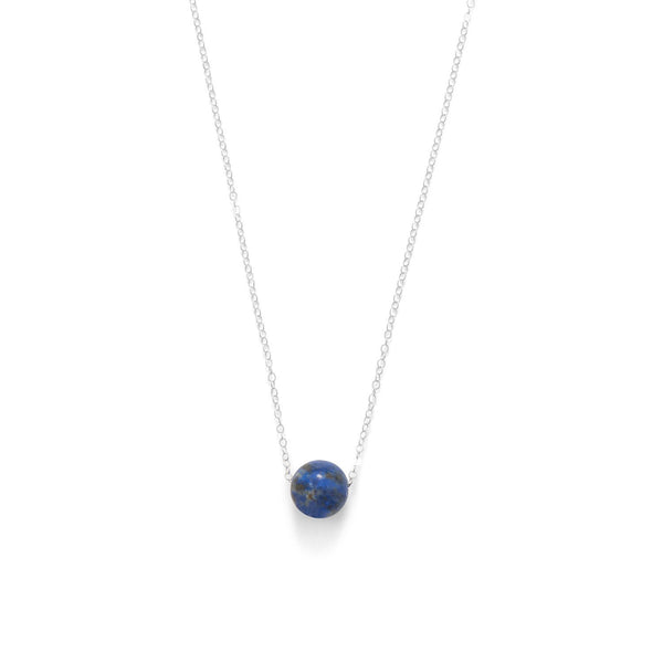 Floating Lapis Bead Necklace Sterling Silver - deelytes-com