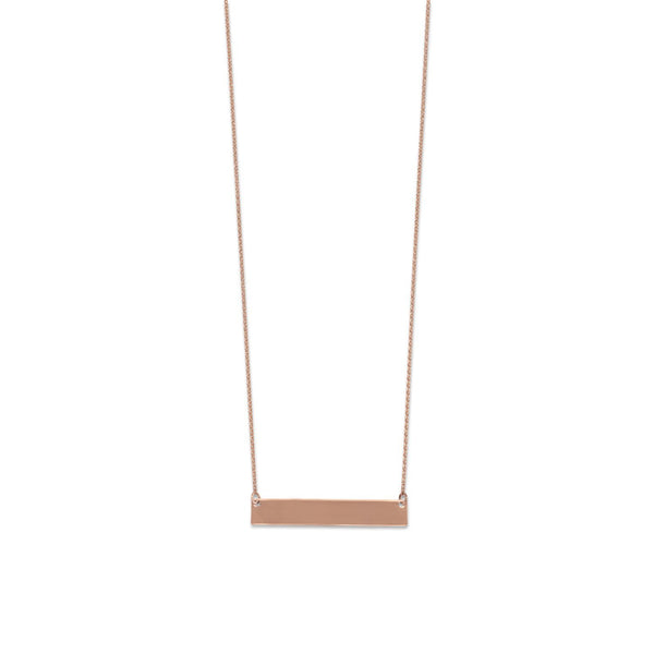 14 Karat Rose Gold Engravable Bar Necklace - deelytes-com