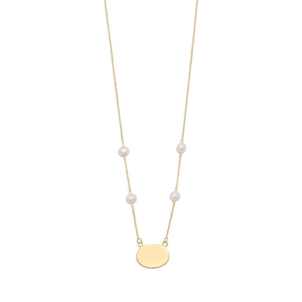 Gold Tone Engravable ID Tag Necklace with White Cultured Freshwater Pearls - deelytes-com