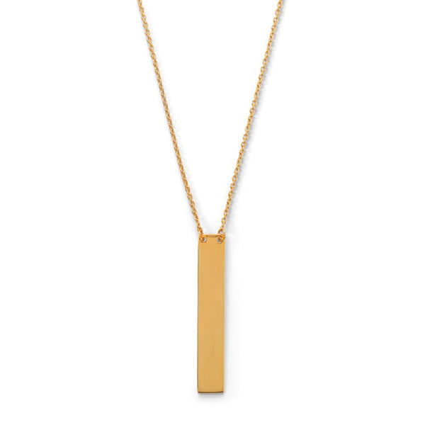 "16"" + 2"" 14 Karat Gold Plated Vertical Bar Drop Necklace - deelytes-com"