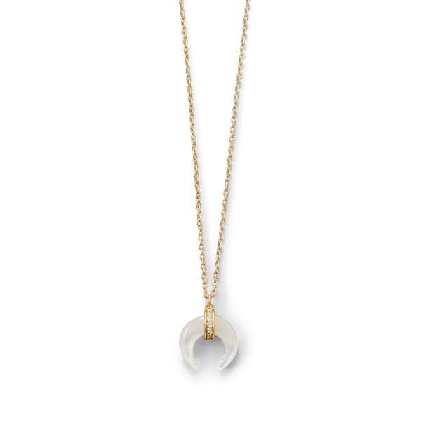 Gold Plated Mother of Pearl Crescent Necklace - deelytes-com